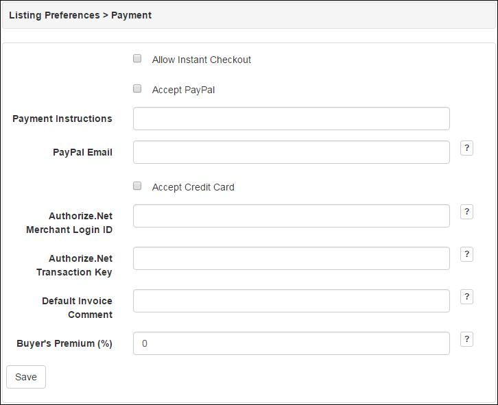 AuctionWorx – Documentation – My Account: Payment